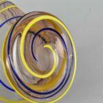 Kralik-Czech-Art-Glass-Footed-Bowl-Blush-with-Blue-Yellow-Threading-264914718753-3