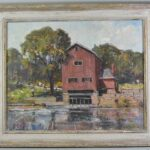 Original-Oil-On-Canvas-Indian-Mill-Scene-Upper-Sandusky-OH-By-Earl-North-193293300053