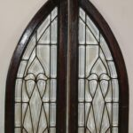 Pair-Vintage-Arched-Beveled-Glass-Windows-Circa-1910-193773794123