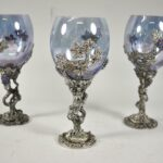 Three-Fellowship-Foundry-Pewter-Hand-Blown-Goblets-Grape-Vine-Details-194198316883