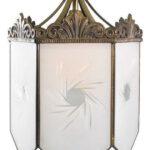 Vintage-Hexagon-Chandelier-Hall-Porch-Light-Etched-Sunburst-Glass-Panels-192630791163-3