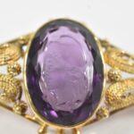 18k-Yellow-Gold-Filigree-Brooch-Intaglio-Cut-Cameo-Purple-265167949744-3