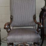 Antique-Carved-Walnut-Upholstered-Side-Chair-Paw-Feet-194042572004