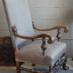 Antique-Carved-Walnut-Upholstered-Side-Chair-Paw-Feet-194042572004-2