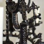 Antique-Five-Arm-Gothic-Revival-Chandelier-in-Wrought-Iron-Black-Finish-193730459164-3