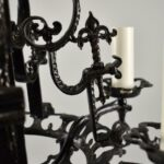 Antique-Five-Arm-Gothic-Revival-Chandelier-in-Wrought-Iron-Black-Finish-193730459164-4