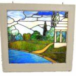 Antique-Framed-Stained-Glass-Window-Landscape-Scene-With-Gazebo-262582280414