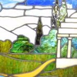 Antique-Framed-Stained-Glass-Window-Landscape-Scene-With-Gazebo-262582280414-2