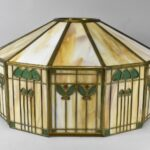 Antique-Handel-Arts-Crafts-Slag-Glass-Panel-Table-Lamp-Shade-Signed-264478634104
