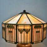 Antique-Handel-Arts-Crafts-Slag-Glass-Panel-Table-Lamp-Shade-Signed-264478634104-2