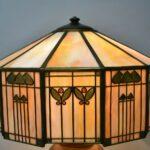 Antique-Handel-Arts-Crafts-Slag-Glass-Panel-Table-Lamp-Shade-Signed-264478634104-3