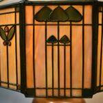 Antique-Handel-Arts-Crafts-Slag-Glass-Panel-Table-Lamp-Shade-Signed-264478634104-5
