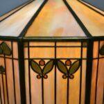 Antique-Handel-Arts-Crafts-Slag-Glass-Panel-Table-Lamp-Shade-Signed-264478634104-6