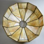Antique-Handel-Arts-Crafts-Slag-Glass-Panel-Table-Lamp-Shade-Signed-264478634104-7
