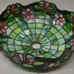 Antique-Leaded-Slag-Glass-Table-Lamp-Floral-Pattern-265237147894-3