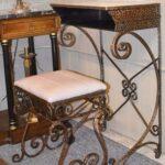 Antiqued-Silver-Gold-Wash-Distressed-Iron-Vanity-Set-Mirror-Stool-Vanity-264931816504-2