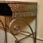 Antiqued-Silver-Gold-Wash-Distressed-Iron-Vanity-Set-Mirror-Stool-Vanity-264931816504-6