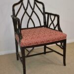 Century-Furniture-Chinese-Chippendale-Black-Laquered-Bamboo-Side-Chair-264295457904