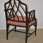 Century-Furniture-Chinese-Chippendale-Black-Laquered-Bamboo-Side-Chair-264295457904-3