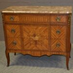French-Style-Floral-Inlay-Satinwood-Three-Drawer-Chest-Marble-Top-30s-40s-192982747134