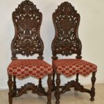 Pair-Vintage-Edwardian-Style-High-Back-Carved-Side-Chairs-194249155444