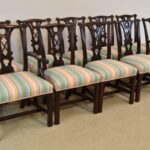 Ten-Mahogany-Chippendale-Dining-Chairs-Two-Arm-Chairs-Upholstered-Kindel-192746376394