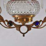 Antique-Kerosene-Hanging-Light-Cranberry-Bullseye-Shade-Cut-Crystals-Blue-Jewels-192580166845-7