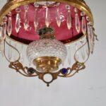 Antique-Kerosene-Hanging-Light-Cranberry-Bullseye-Shade-Cut-Crystals-Blue-Jewels-192580166845-8