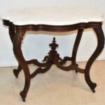 Antique-Large-Victorian-Walnut-Turtle-Top-Marble-Table-193577998325