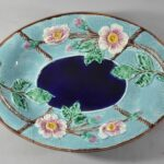 Antique-Majolica-Wild-Rose-And-Rope-Oval-Platter-Cobalt-Turquoise-Circa-1800s-263537338915