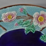 Antique-Majolica-Wild-Rose-And-Rope-Oval-Platter-Cobalt-Turquoise-Circa-1800s-263537338915-2