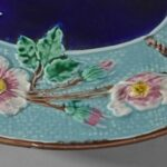 Antique-Majolica-Wild-Rose-And-Rope-Oval-Platter-Cobalt-Turquoise-Circa-1800s-263537338915-3