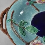 Antique-Majolica-Wild-Rose-And-Rope-Oval-Platter-Cobalt-Turquoise-Circa-1800s-263537338915-4
