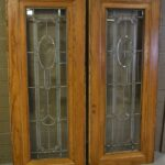 Antique-Pair-Beveled-Leaded-Glass-Oak-Door-Panels-264818312405