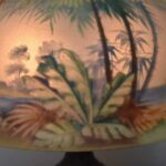 Antique-Pairpoint-Reverse-Painted-Lamp-Palm-Trees-Tropical-Scene-Scene-Signed-264909011265-4
