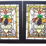 PAIR-OF-AMERICAN-STAINED-GLASS-WINDOWS-WITH-FRUIT-BASKET-DETAIL-1910-191908833355