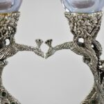 Pair-Fellowship-Foundry-Pewter-Handblown-Glass-Peacock-Toasting-Glasses-265192948605-2