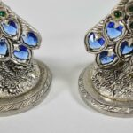 Pair-Fellowship-Foundry-Pewter-Handblown-Glass-Peacock-Toasting-Glasses-265192948605-3