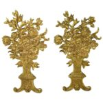 Pair-of-French-Bronze-Gold-Dore-Mounts-with-a-Floral-Basket-Design-264985154615