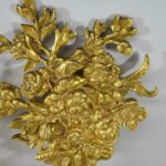 Pair-of-French-Bronze-Gold-Dore-Mounts-with-a-Floral-Basket-Design-264985154615-2
