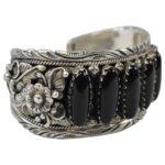 Sterling-Silver-Onyx-Navajo-Cuff-Bracelet-Marked-P-R-264931756615