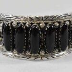 Sterling-Silver-Onyx-Navajo-Cuff-Bracelet-Marked-P-R-264931756615-2