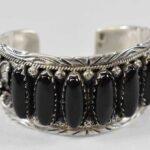 Sterling-Silver-Onyx-Navajo-Cuff-Bracelet-Marked-P-R-264931756615-3