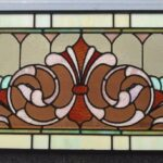 Victorian-Stained-Glass-Fleur-De-Lis-Design-Circa-1910-Greens-Lilac-and-Rust-265015180945