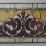 Victorian-Stained-Glass-Fleur-De-Lis-Design-Circa-1910-Greens-Lilac-and-Rust-265015180945-2