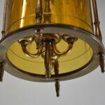Vintage-Brass-Hall-Chandelier-Light-Fixture-Amber-Cylinder-Etched-Floral-Details-193852168985-3