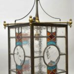 Antique-Brass-Leaded-Stained-Glass-Foyer-Chandelier-Circa-1920s-265148258846