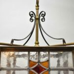 Antique-Brass-Leaded-Stained-Glass-Foyer-Chandelier-Circa-1920s-265148258846-4
