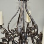 Antique-Five-Arm-Gothic-Revival-Chandelier-in-Wrought-Iron-Pewter-Finish-193730572826-3