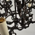 Antique-Five-Arm-Gothic-Revival-Chandelier-in-Wrought-Iron-Pewter-Finish-193730572826-5
